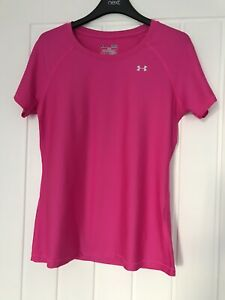 LADIES UNDER ARMOUR HEATGEAR S/ SLEEVE BASE LAYER/FITNESS/ SPORTS TOP PINK Small