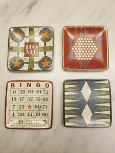Creative Co-Op Vintage Board Game Stoneware Dish Set