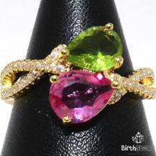 2CT Peridot 2CT Pink Sapphire Ring Women Jewelry Gift 14K Yellow Gold Plated