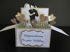Handmade card, 3D Wedding Card in a box -Bride &Groom