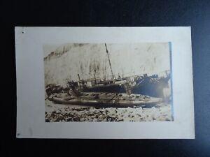 Antique WW1 Abandoned SUBMARINE & SHIP - GERMAN? RPPC Real Photo Postcard
