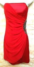Dancing Queen Women Size M Red Strapless Short Rhinestone Ruched Party Dress. 82