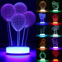 7 Color Change/Warm White 3D illusion Desk Table Lamp LED Night Light Xmas Gift