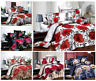4 Pc Bedding 3D Duvet Set With Quilt Cover & Fitted Sheet Single Double King Bed