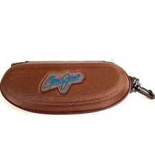 Maui Jim Sunglasses Protective Hard Case Only Nylon Brown Zippered Belt Clip