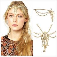 Fashion Women Pearl Gold Wedding Crystal Boho Headband Head Band Chain Headpiece