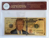 President Donald Trump.. $100 Dollar Bill.. 24K Gold 3D Overlay... With COA