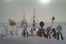Large lot of Vintage Bells folk art brass Porcelain ceramic variety, mid century