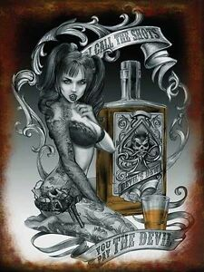 Devil Shots, Alchemy Gothic Tattoo Girl Steampunk Pinup Small Metal Tin Sign