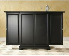 Black Bar Cabinet Expandable Wine Liquor Storage Fold Out Doors Home Furniture