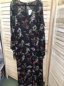 Bnwt Forever 21 Ladies Floral Jumpsuit Sheer Size Uk 22
