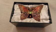 Nib Fitz & Floyd Butterfly Jeweled Box 620/161 Enamel & Rhinestones Trinket Box