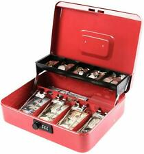 Cash Box Money Coin Tray Case Travel Storage Combination Lock Metal Safe Red NEW