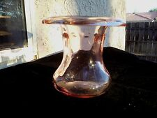 """Pink Roll Top Vase 4"""" Tall"""