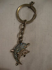 Heavy Metal Two 2 Dolphin Rhinestone Keychain Ring Silver Blue White Chain