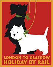 SCOTTISH TERRIER WEST HIGHLAND WHITE SCOTTIE WESTIE DOG ART PRINT - Rail Poster