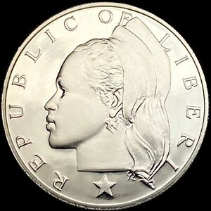 LIBERIA. 1 Dollar, 1974 - Woman with Headdress, Proof, RARE