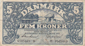 5 KRONER VG BANKNOTE FROM GERMAN OCCUPIED DENMARK 1942 PICK-30