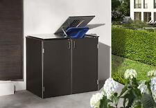 Binto Müllbox System 2er-Box HPL schiefer mit Edelstahldeckel