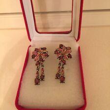 Garnet, Ruby and Sapphire 925 sterling silver drop dangle earrings