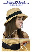 Genuine CC Brand Women's Paper Woven Cloche Bucket Hat with Black Bow Band