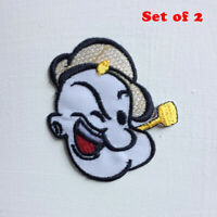 The Sailor Man Animated Cartoon Art Badge Iron/sew on Embroidered Patch Set of 2