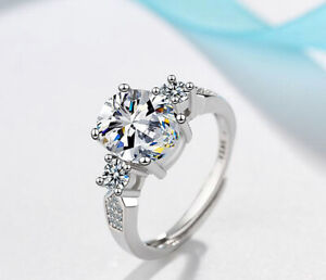 Zircon Oval Adjustable Ring 925 Sterling Silver Womens Girl Jewellery Love Gift