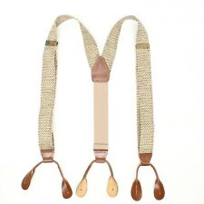 Pelican USA Mens Woven Braces Suspenders Beige Herringbone Jute Leather Tab