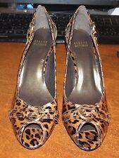 NWOB Stuart Weitzman Leopard Print Patent Leather  Peep Toed Heels Size 8.5 N