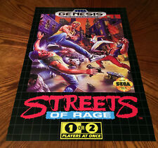 "Streets Of Rage Sega Genesis box case art retro video game 24"" poster print"