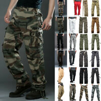 Men's Combat Tactical Cargo Work Army Pants Military Camo Trousers Casual Hiking
