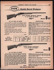 1958 FOX Model B-st & B Double Barrel Shotgun AD w/original prices