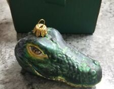 Slavic Treasures Glass Blown Hand Painted Alligator Head Ornament Rare Unused +