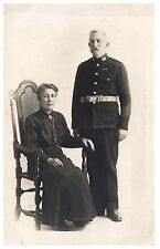 Postcard Pre WW1 Royal Marine Veteran with Wife 5 Good Conduct Chevrons RPPC 10