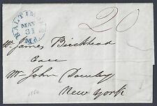 US 1850 BALTIMORE MD IN BLUE ON FOLDED LETTER TO NEW YORK 20¢ MANUSCRIPT
