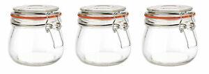 3 Set of 500ml Clip Top Glass Preserving Jars Airtight Storage Tea Coffee Sugar