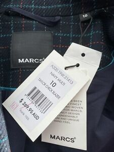 Marcs Taylor Check Blazer Multicolored Navy Size 10