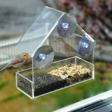 Window Bird Feeder Wild Table Hanging Suction Perspex Clear Viewing Seed Tool