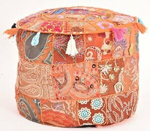 "22"" INDIAN HANDMADE POUF COVER FOOT STOOL BOHEMIAN PATCHWORK OTTOMAN UNFILLED"