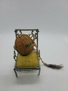 DOLLHOUSE MINIATURE ANTIQUE VINTAGE TINY HOUSE IN A WALNUT