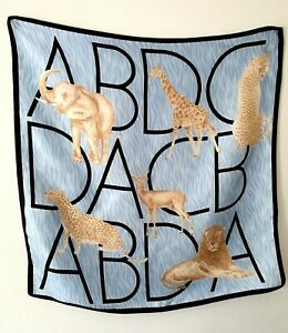 Bonita Blue Small Silk Scarf Neckerchief Animals Alphabet Elephant Giraffe Lion