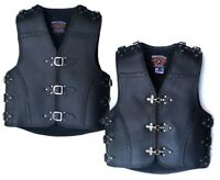MENS MOTORCYCLE HEAVY DUTY CLUB BUCKLE VEST 3MM THICK COWHIDE LEATHER BRAIDED