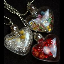 Natural Dried Flowers And Rhinestones Heart Pendant Necklace