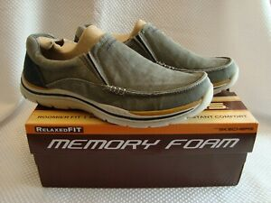 MENS SKECHERS MEMORY FOAM RELAXED FIT LOAFERS 10.5 INSTANT COMFORT GRAY BLUE NEW