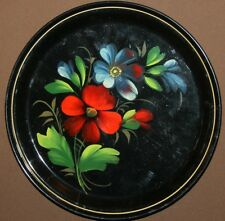 VINTAGE RUSSIAN FLORAL HAND PAINTED METAL TOLE PLATE