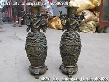 Chinese Classical Copper Bronze carve Six Dragon Dynasty bottle pot Vase pair