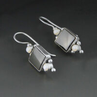 Vintage Onyx + Genuine Pearl Sterling Silver Earrings JGD Janice Girardi 925