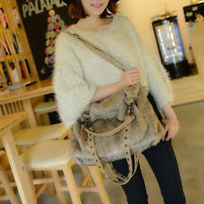 Women's Winter Casual Faux Fur Handbags Large Messenger Shoulder Bags Satchel YJ