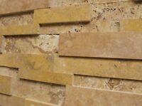 Wand Verkleidung Verblender Klinker Stein Travertin Muro Gold Muster Wohnrausch