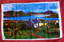 Vintage Irish Linen Tea Towel THE COTTAGES OF IRELAND Imported from Ireland